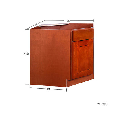 Cherry Shaker Base Corner Sink Base 36""
