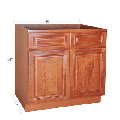 Wine Maple Sink Base Cabinet with Two Drawers & Two Doors