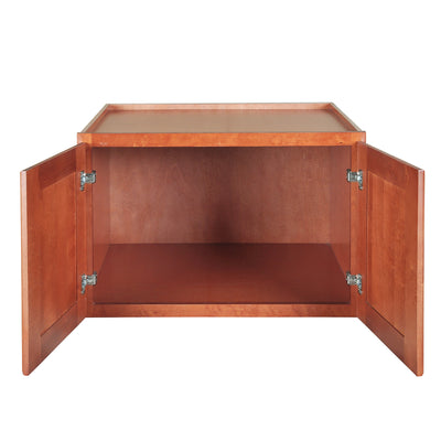 "Wine Maple Wall Cabinet with Two Doors 21""H"