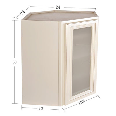 Cream White Wall Diagonal Cabinet with Stained Glass Door@