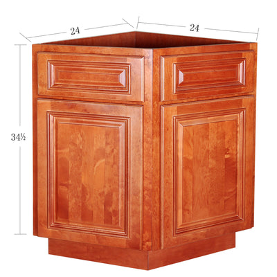 Wine Maple Base End Cabinet with Two Doors