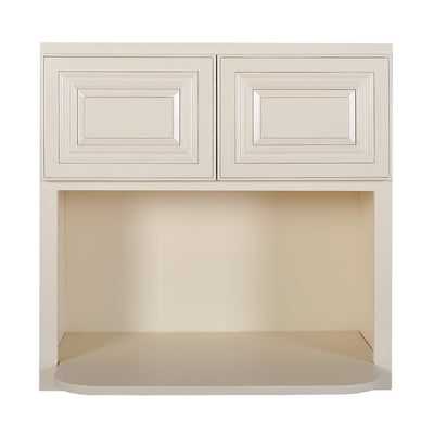 Cream White Wall Microwave Cabinet@