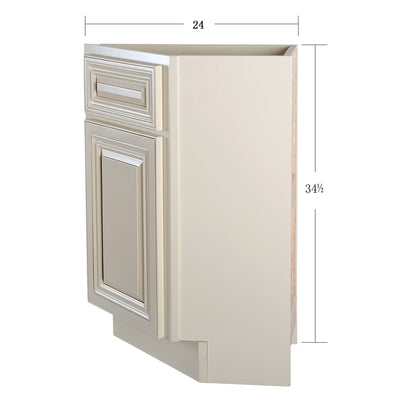 Cream White Base End Angle Cabinet with One Door@