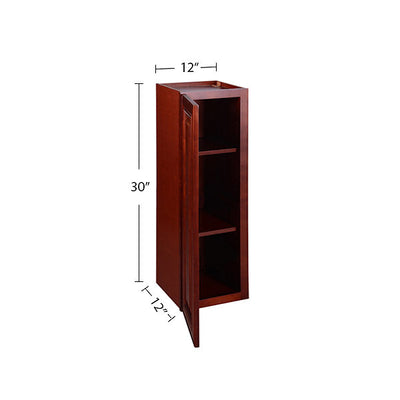 "Cherry Maple Single Door Wall Cabinet 12"" Deep 30""H @"