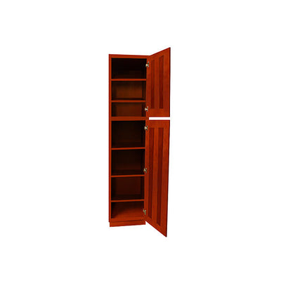 Cherry Shaker Pantry Cabinet with Two Doors