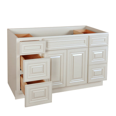 Cream White Vanity Base with Drawer 48@