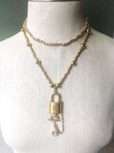 LV Lock Gold Bead Necklace