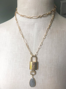 LV Lock Stone Necklace