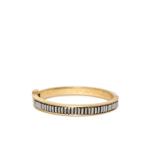 Gold Bezel Hinged Cuff