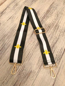 Striped Gold Bee White Bag Strap