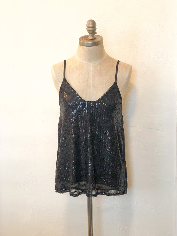 Black Sequin V-Neck Tank