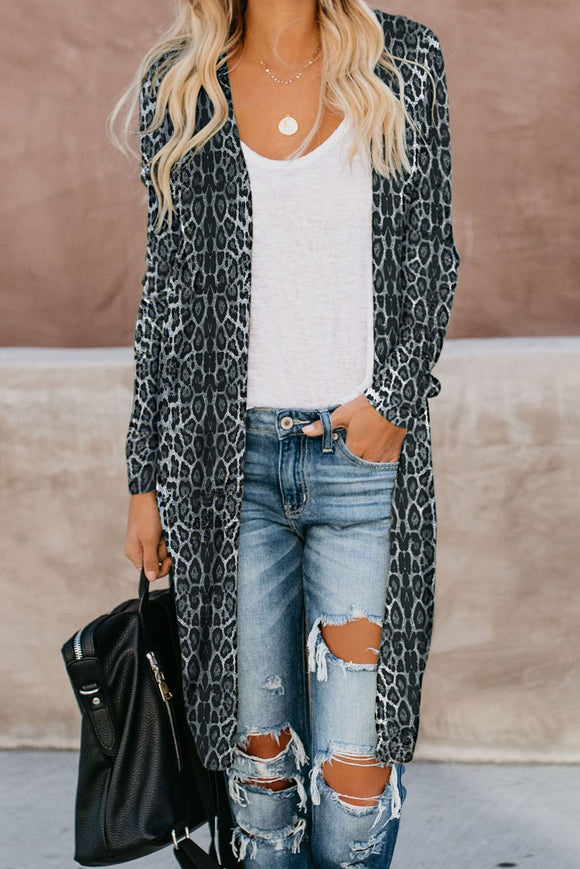 Blue Leopard Long Cardigan