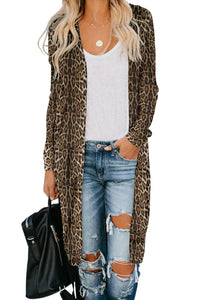 Brown Leopard Long Cardigan