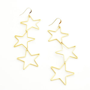 Gold Triple Star Hanging Earrings