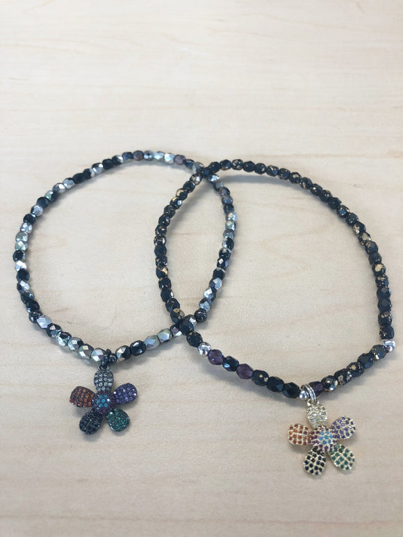 Flower Crystal Anklet Black