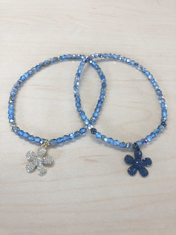 Flower Crystal Anklet Light Blue