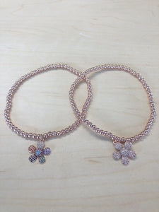Flower Crystal Anklet Rose Gold