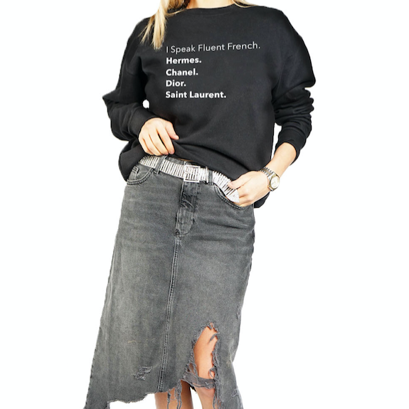 Fluent French Black Sweatshirt