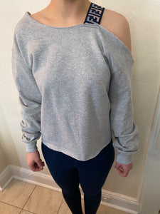 Fendi Inspired Strapped Crewneck Grey