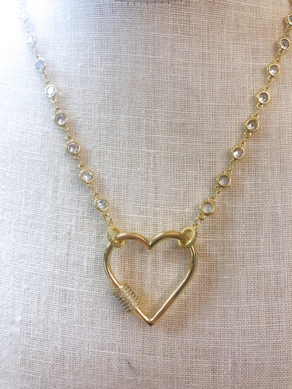 Heart Screw Necklace Gold