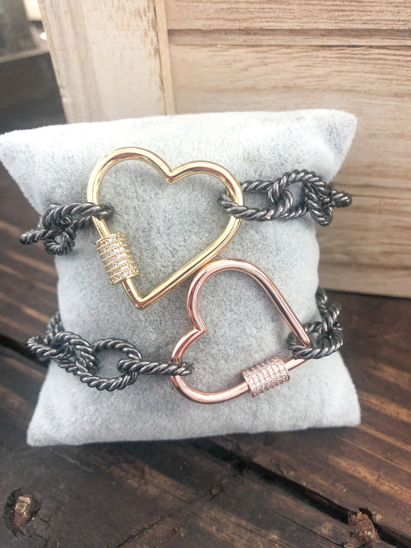 Rose Gold Heart Screw Bracelet