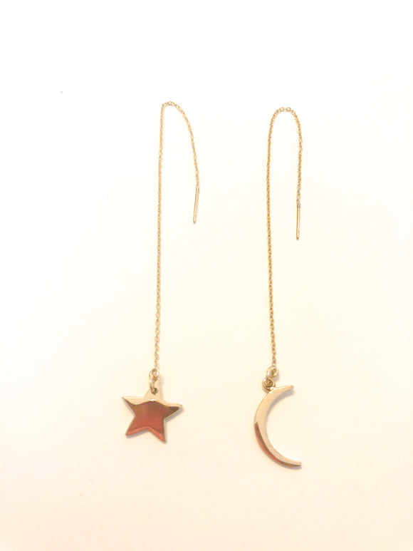 Gold Moon and Star Earring Threaders
