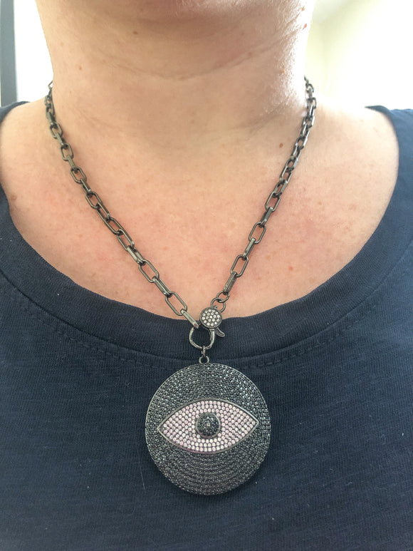 Gunmetal Evil Eye Necklace