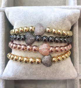 Pave Heart Large Beads Bracelet
