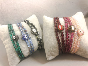 Double wrap evil eye bracelets