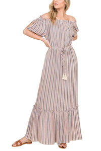Striped Mocha Maxi Dress
