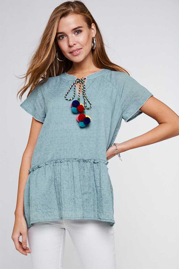 Pom Pom Short Sleeve Top