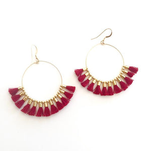 Red Tassel Hoops