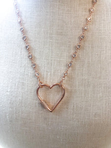Heart Screw Necklace Rose Gold