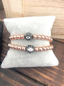 Evil Eye Round Bracelet Rose Gold