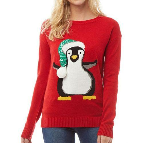 Womens Christamas Xmas Novelty Penguin Jumper