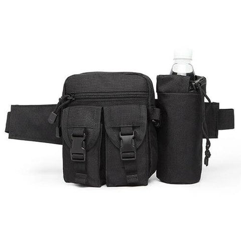 Tactical Waist Bag With Water Bottle Attachment - Black