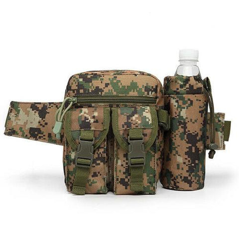 Tactical Waist Bag With Water Bottle Attachment - Digital Woodland