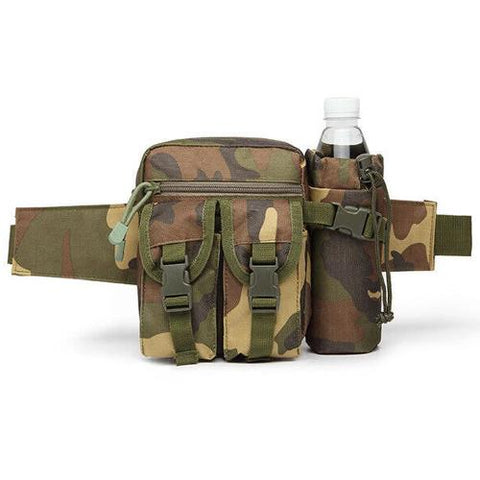 Tactical Waist Bag With Water Bottle Attachment - Woodland