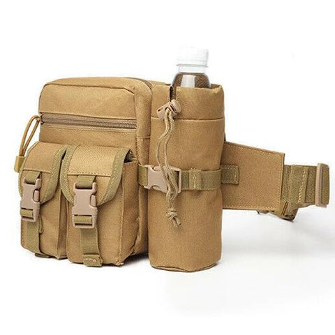 Tactical Waist Bag With Water Bottle Attachment - Khaki