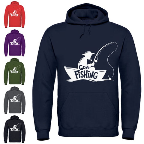 Adults Gone Fishing Printed Hoodie