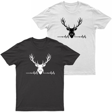 Adults Stag ECG Logo Printed Short Sleeve T-Shirt