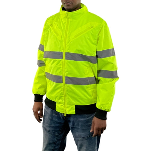 Mens Hi Vis Waterproof Quilted Bomber Jacket with Concealed Hood