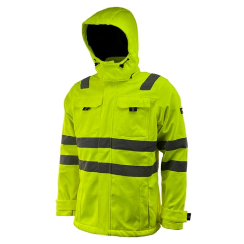 Mens Hi Vis Softshell Waterproof and Windproof Hooded Coat