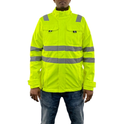 Mens Hi Vis Waterproof and Windproof Softshell Jacket Coat