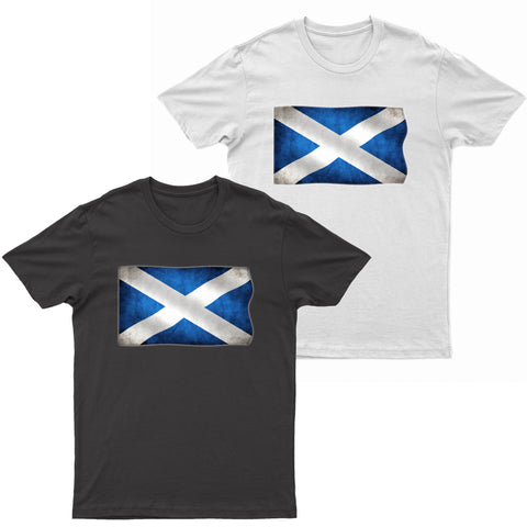 Adults Scottish Flag Grunge Printed Short Sleeve T-Shirt