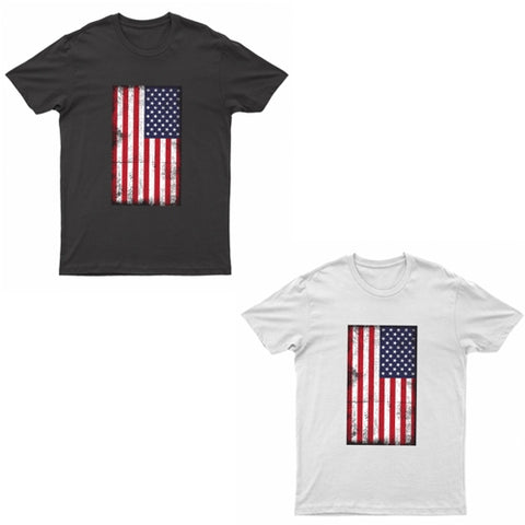 Adults American Flag Grunge Printed Short Sleeve T-Shirt