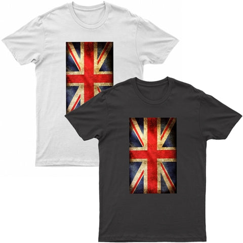 Adults Union Jack Grunge Printed Short Sleeve T-Shirt