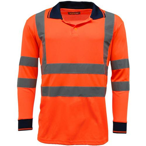 Mens Standsafe HV005 Hi Vis Long Sleeve Polo Shirt - Orange