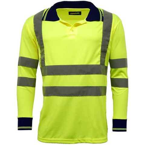 Mens Standsafe HV005 Hi Vis Long Sleeve Polo Shirt -Yellow