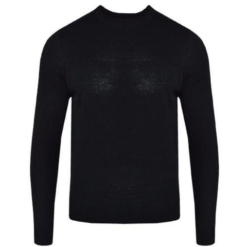 Mens L17-110 Plain Crew Neck Jumper Black